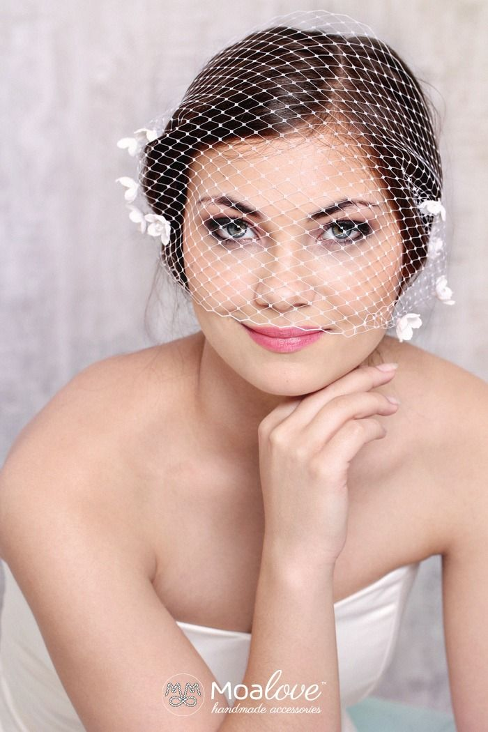 Lara | two-layer veil with silk flowers - MoaLove Accessories