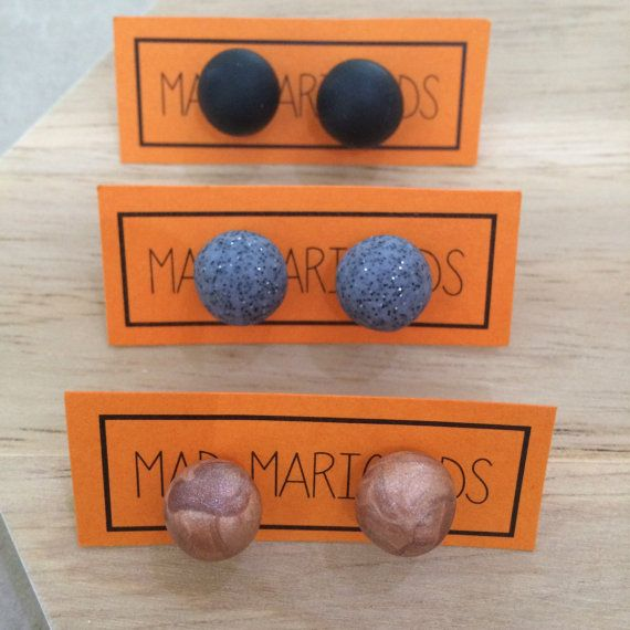 Handmade Polymer Clay Studs  Various shapes and by MadMarigolds