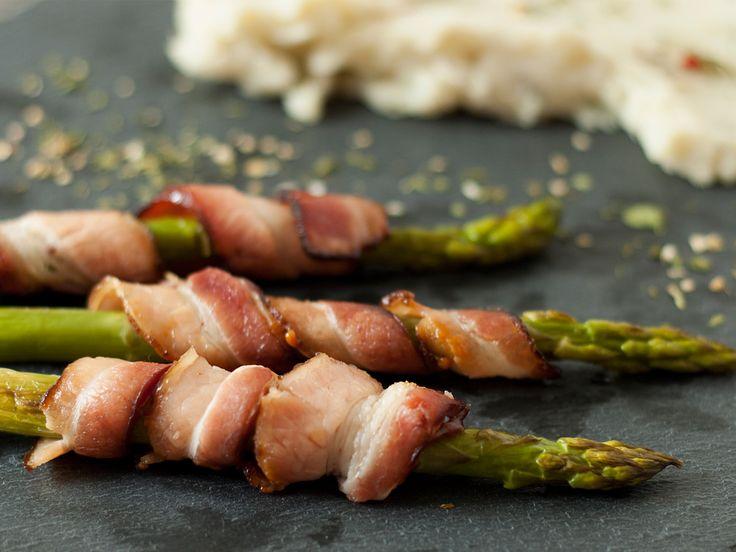 Purê Rústico de Batata-Doce e Aspargos com Bacon