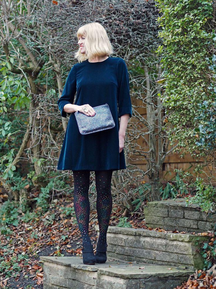 what Lizzy Loves velvet swing dress multi-coloured crystal tights