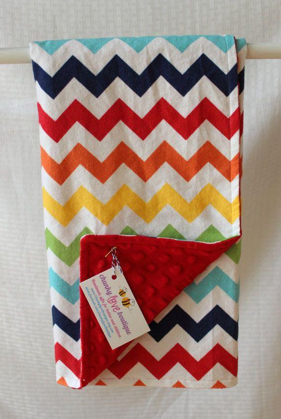 Gender Neutral Snuggle Blanket // Rainbow Chevron Blanket // Baby Girl Blanket // Baby Boy Blanket // Red Minky Blanket // Receiving Blanket...