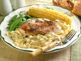 Italian Seasoned Chicken and Fettuccine - I do this one quite differently. I marinade the chicken overnight in 2 Tbsp vegetable oil, 1/2 c lemon juice, 1/2 c water, and 1 packet of Good Seasons Italian Dressing Mix. I serve over elbow noodles that I mix with Knorr Garlic & Herb pasta sauce packet.