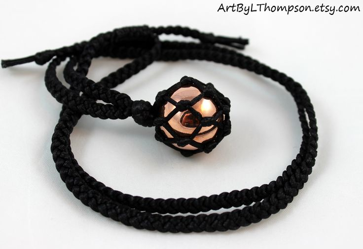 Original art by L. Thompson Black Satin Cord Wrapped Copper Sphere Necklace - 6 Pointed Star