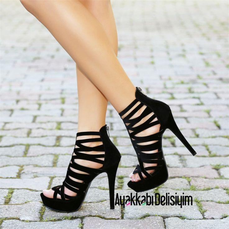 Libel Süet Siyah Kafesli Platform Topuklu Ayakkabı