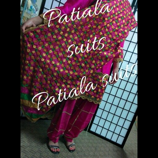 Hot pink pure silk Patiala suit with heavy Phulkari. $300 Different colors available. For details  Call or Whatsapp  +1-604-780-8190