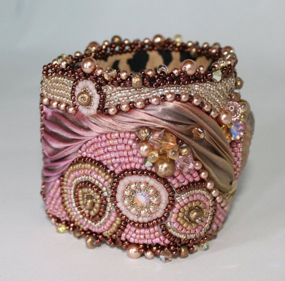 Bead Embroidered Cuff Bracelet Pink Charity Flexible by ReneGibson, $275.00