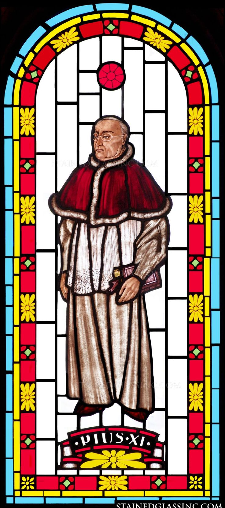 """Pope Pius XI"" Religious Stained Glass Window"