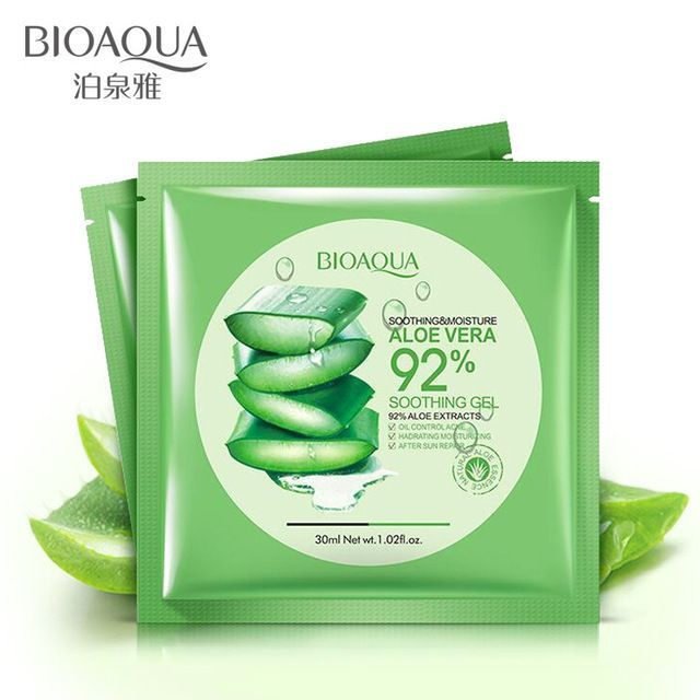 Bioaqua Natural Aloe Vera Gel Face Mask Moisturizing Oil Control Shrink Pores Facial Mask Wrapp Natural Aloe Vera Gel Moisturizing Face Mask Aloe Vera Gel Face