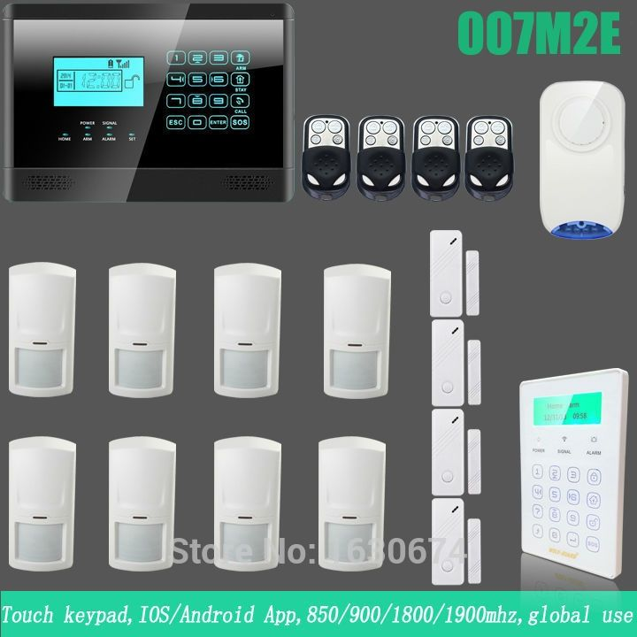 205.20$  Know more - http://aiegp.worlditems.win/all/product.php?id=32362291320 - IOS Android APP Touch LCD Smart Touch Keypad Wireless wired GSM Alarm system Quad4 Band Home Security Alarm System