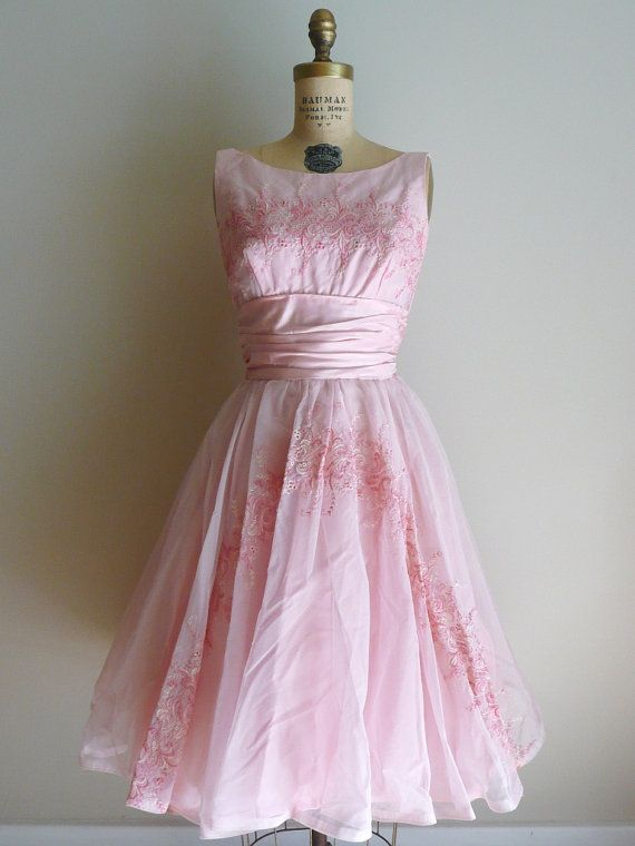 Vintage 1950s Embroidered Pink Party Dress