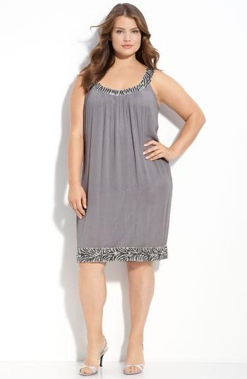Adrianna Papell Sequin Trim Sleeveless Shift Dress (Plus) | Nordstrom - StyleSays