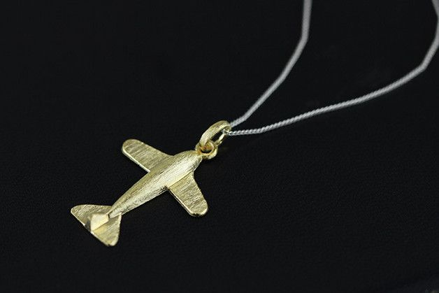 Silver Pendants � Silver airplane Necklace pendant gold plated � a unique product by TO_Design on DaWanda