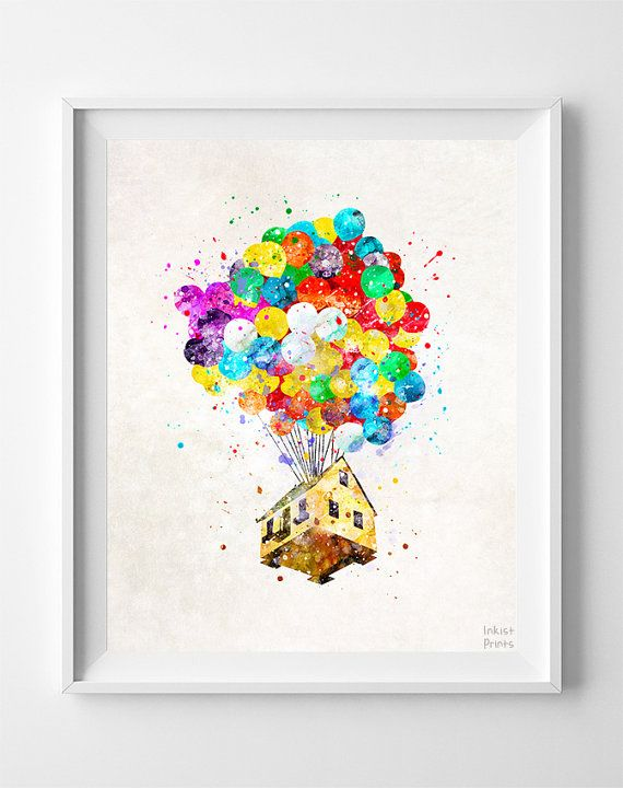 Up Disney Print, Balloon House, Watercolor Art, Flying House, Disney Poster, Kids Room Decor, Wall Decor, Bedroom Art, Mothers Day Gift