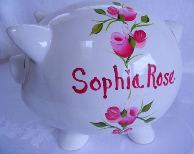 Piggy bank, hand painted piggy bank, piggy bank with roses, nursery decor, baby accessory, childrens piggy bank, adult piggy bank