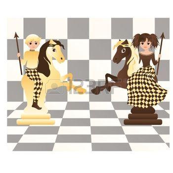 Kis fehér és fekete sakk lovak, illusztráció photo