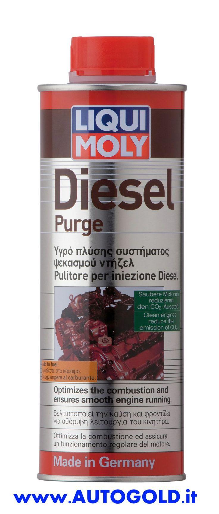 Diesel Purge: Il pulitore per iniezione diesel rimuove i depositi dagli iniettorie dai pistoni/camera di combustione. Maggiore regolarità e abbassamento dei consumi. #LiquiMoly www.autogold.it