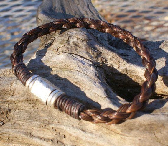 Kastanie geflochtenes Pferdehaar Armband mit von HazelsHandcrafted