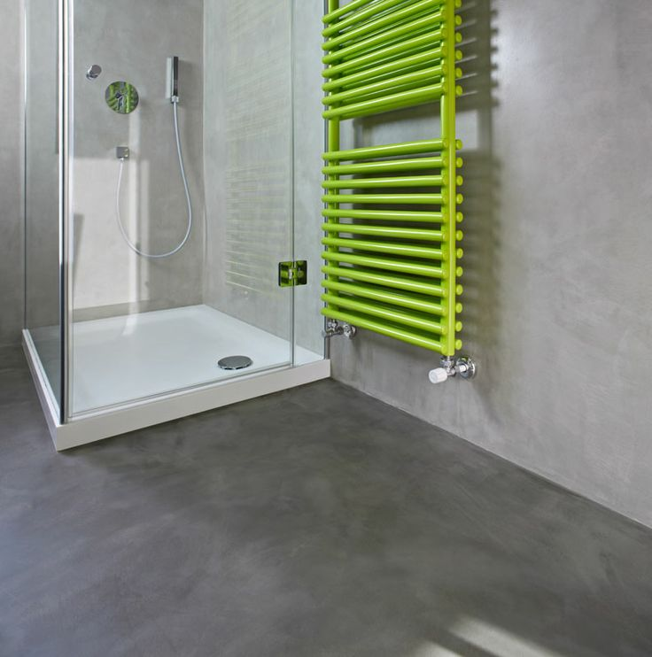 colorful details - fluo radiator, bathroom trends #concrete #microtopping http://www.idealwork.com/Micro-Topping-Features-and-benefits.html