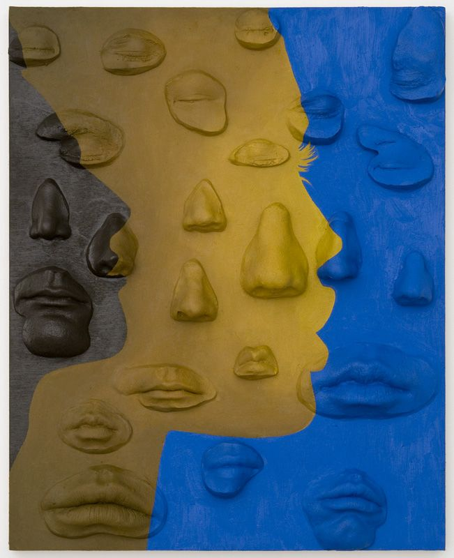 Your Nose Is My Nose 1 , Oil paint, urethane resin, epoxy, spray paint on wood panel, 20 x 16 in., 2014