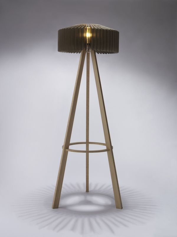 cardboard furniture design. groove floor lamp for tane design produced from cardboard sections with bamboo frame furniture