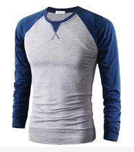 Grátis frete moda marca Mens roupas camiseta de manga longa esporte Baseball homens casuais camiseta o pescoço contraste cor camisola(China (Mainland))