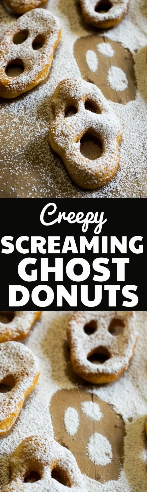 These Screaming Ghost Donuts are the perfect easy dessert for a creepy party this halloween! They are so easy to make using refrigerated biscuit dough and are always a hit!