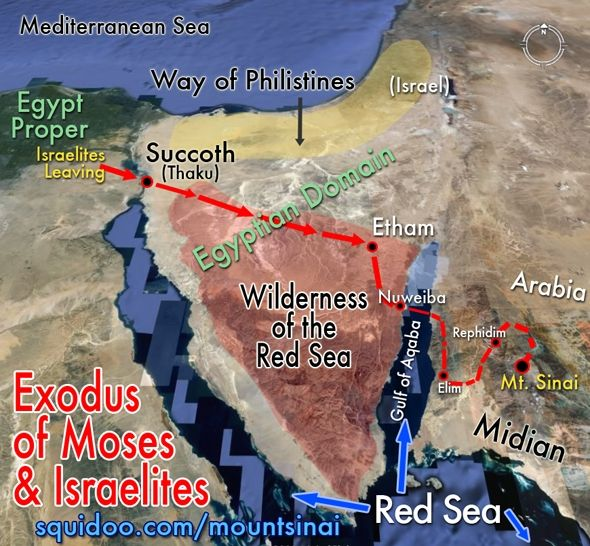 Mount Sinai Exodus Journey Sinai Peninsula Arabia Midian. (the real mt of God in Midian, Arabia, as the scripture says. About the 7th century AD Christians were re-directed to the peninsula, away from Arabia by Arabians who did not want Christians coming to their land)
