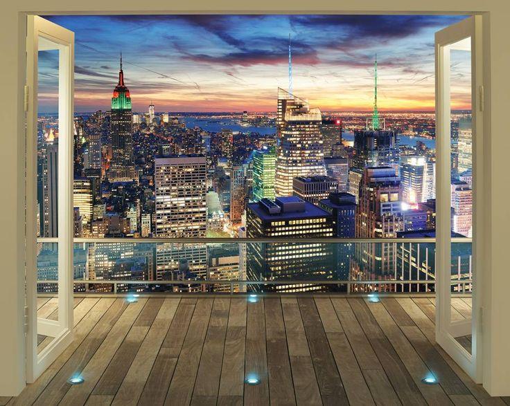 New York skyline Posterbehang, fotobehang. Breng dit behang aan op de muur en het lijkt wel of je van je eigen balkon heel New York kunt overzien.
