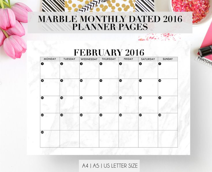 New to StyleCelery on Etsy: Marble Dated Monthly Planner Pages | Refill Insert | a4 a5 US letter | 2016 Diary | Yearly Schedule | Desk Calendar | Printable Diary (6.00 GBP)