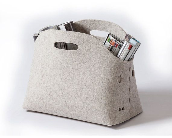 Unique storage basket Made out of highest quality 100% natural wool felt.  Size: 15X9.5X12.5 / 38X24X32 cm Supplied assembled in a rigid cardboard box Free shipping
