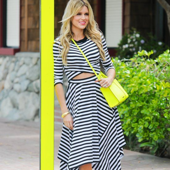 A black & white striped midi dress paired with bold, neon accessories to keep the look fresh for summer. And wait until you see the shoes!