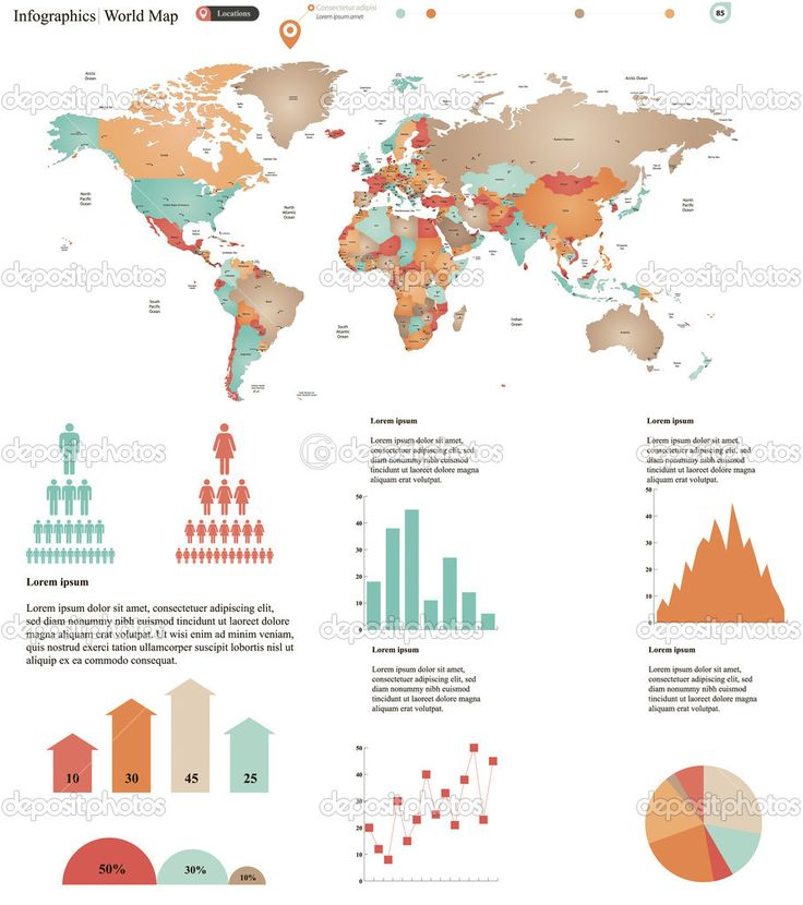 55 best design images on pinterest presentation design business vector illustration of world map with infographic elements vector by mariam2707 sciox Images