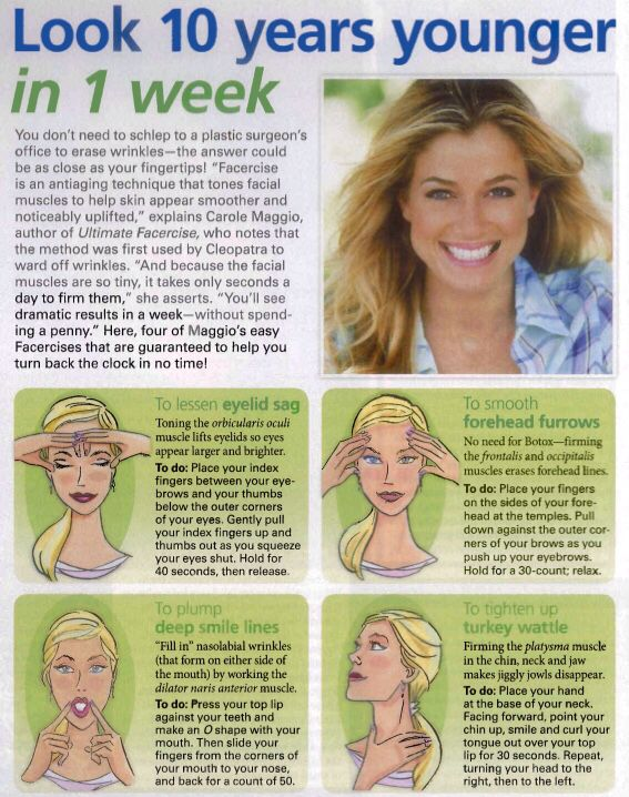 It's never too early to start exercising your face muscles so here are some facercises.