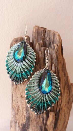 Macrame earrings The big one Sterling silver and blue bermuda swarovski peardrop