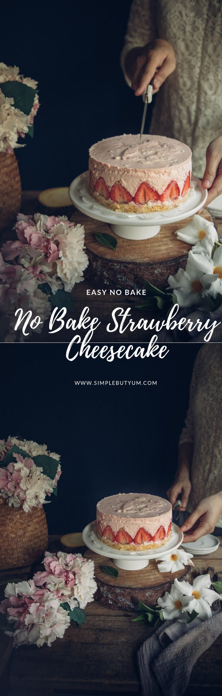 This No-bake Strawberry Cheesecake is extra creamy and bursting with strawberries. It is light, fluffy and loaded with s…