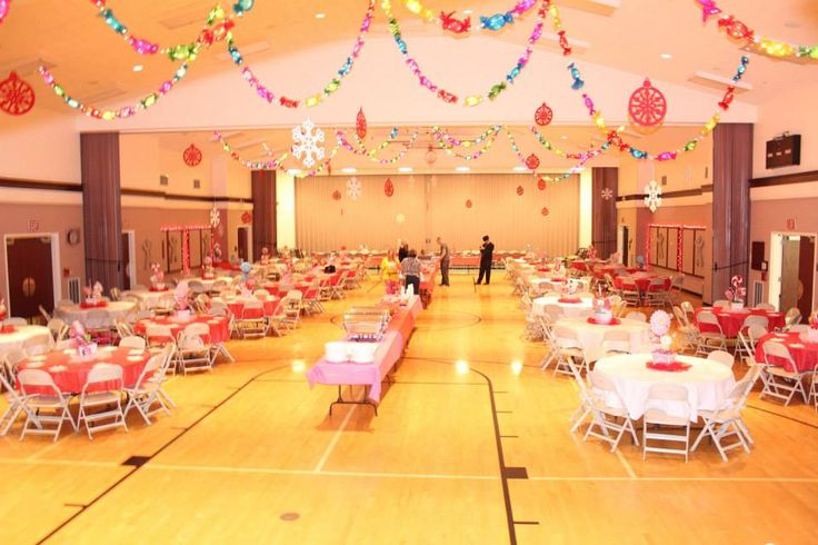 Our Ward Christmas Party...love that the food tables are down the center.