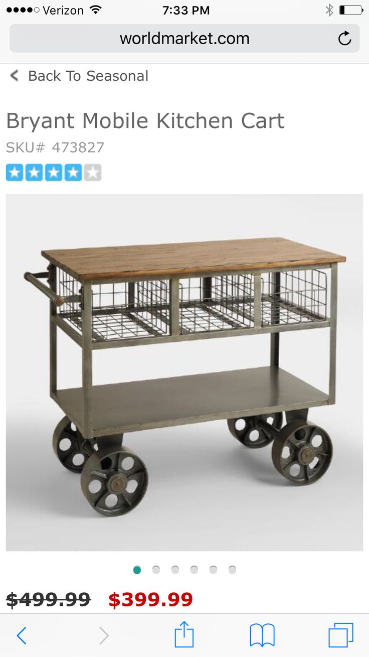 Kitchen island cart world market - Reminiscent Of Old Vintage Factory Carts Our Beautifully Industrial Bryant Mobile Kitchen Cart Is Perfect For Keeping Kitchen Essentials Within Reach