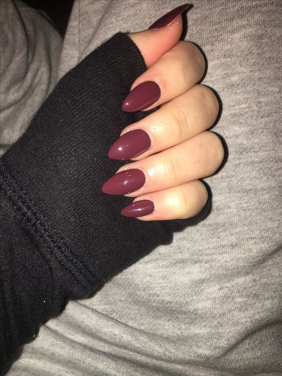 Acrylic maroon almond nails winter nails
