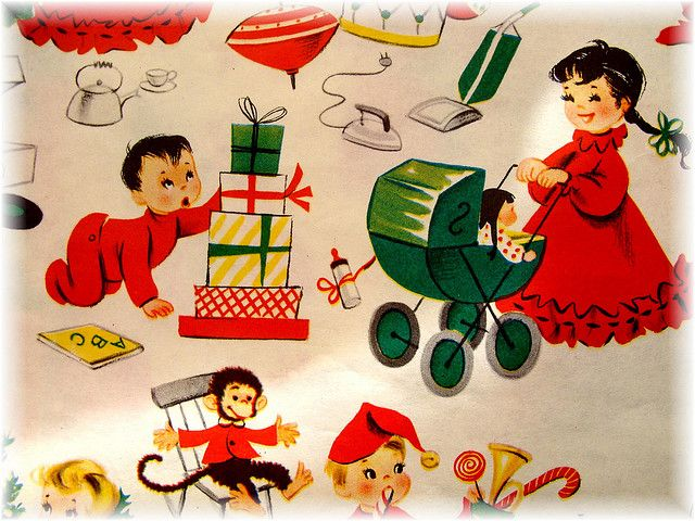 Vintage Children's Christmas Wrapping Paper by Bluebird Becca, via Flickr