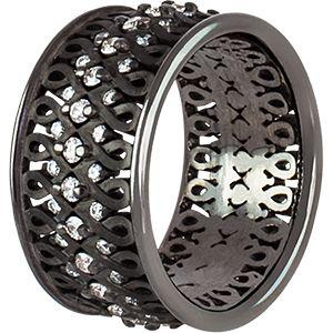 Ювелирный Бренд Роскошь  кольцо  с бриллиантами, черный родий R3218-3903 Коллекция Готика.jpg