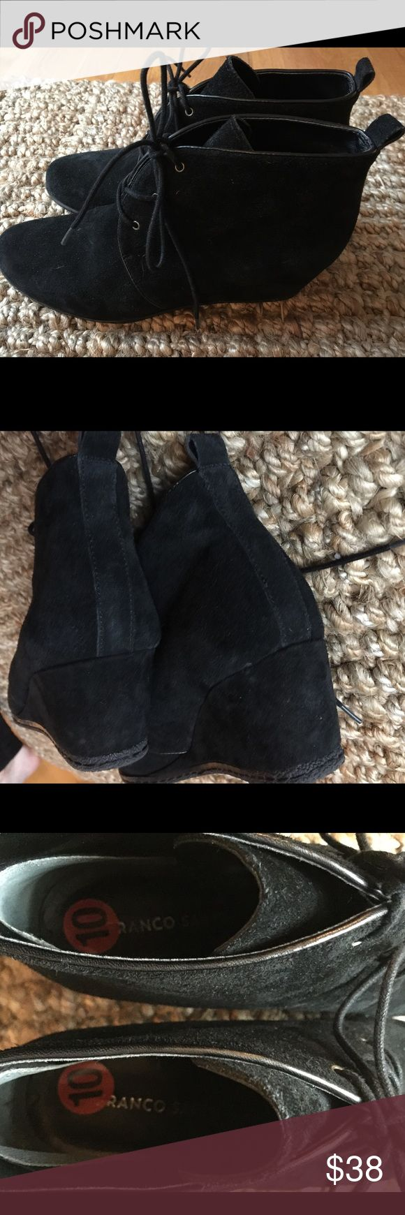 Black suede wedge booties SZ 10 Black suede wedge booties SZ 10. Franco Sarto. Very good condition, only sign of wear is very slight on sole. These are super cute!! Franco Sarto Shoes Ankle Boots & Booties