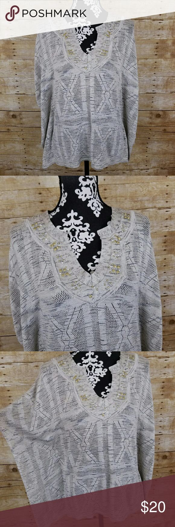 "White House Black Market Embellished Batwing Top Women's White House Black Market Embellished Batwing Top  83% rayon, 11% polyester, 6% metallic  Size XS  Gently used EUC   Measurements laying flat:  Underarm to underarm: 17""  Length: 26.5"" White House Black Market Tops"