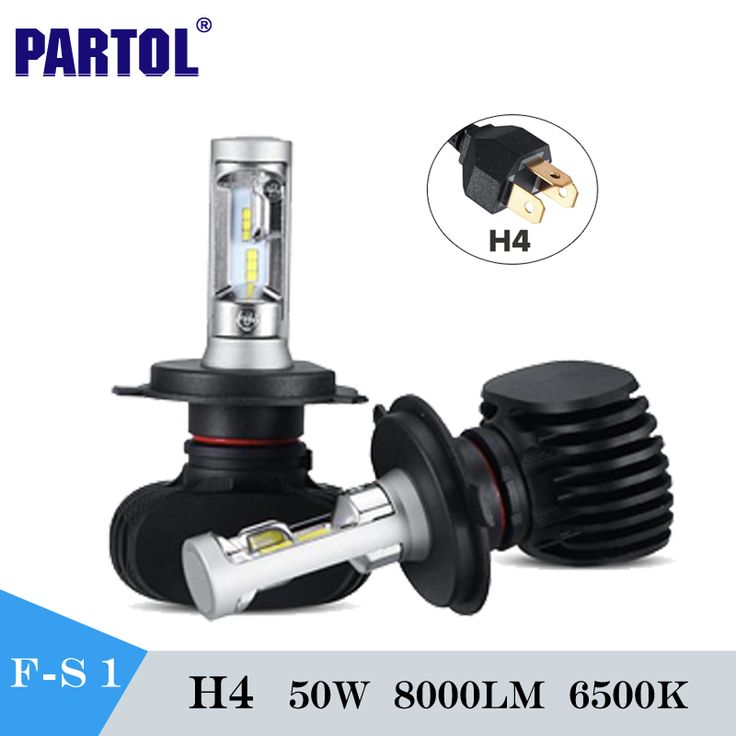Partol S1 H4 Led Car Headlight Bulbs Cree Csp Chips 50W 6500K 8000Lm High Low Beam Front Fog Lamp Kit For Audi Ford Honda Toyota