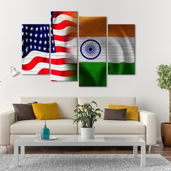 Usa And India Flag Multi Panel Canvas Wall Art Canvas Wall Art Multi Panel Canvas Wall Art Prints