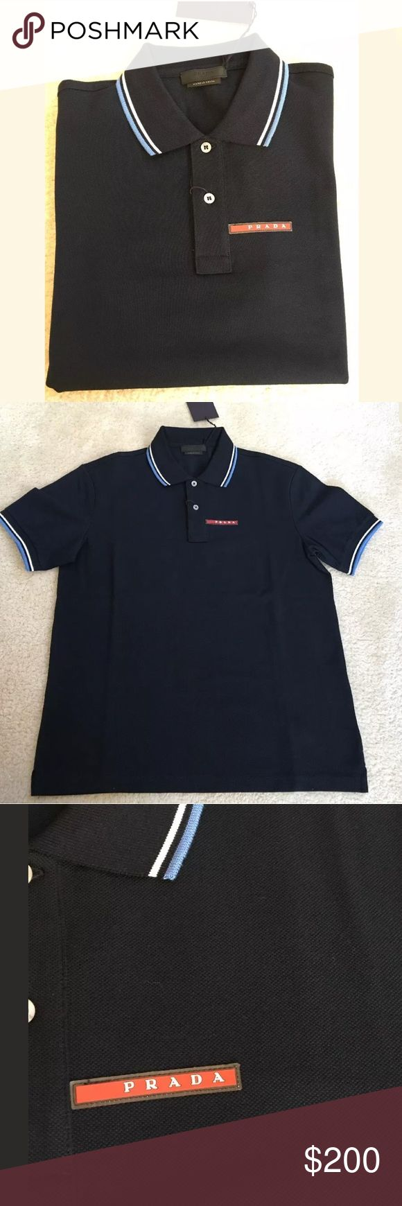 PRADA MEN'S BLUE COTTON POLO SHIRT XL PRADA MEN'S BLUE COTTON SIGNATURE STRIPE POLO SHIRT    100% authentic. Retail price $295.00    Size: XL Prada Shirts Polos