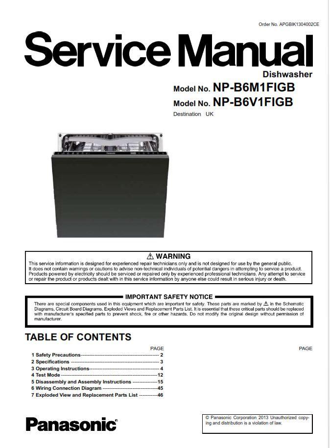 Panasonic Np B6v1figb B6m1figb Dishwasher Service Manual And Repair Guide Dishwasher Service Repair Guide Repair
