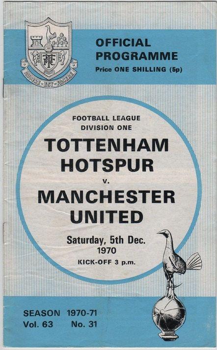 Vintage Football Programme, Tottenham Hotspur v. Manchester United, 1970/71 season, by DakotabooVintage, £3.99