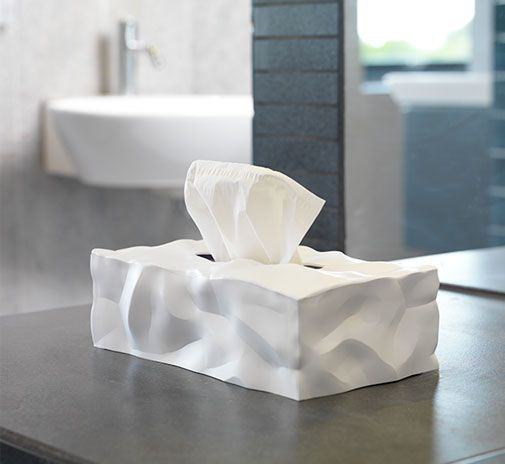 Wipy II by Essey.  With crumpled surfaces visually communicating the content inside Wipy ll is now launched as cover for the rectangular tissue boxes.