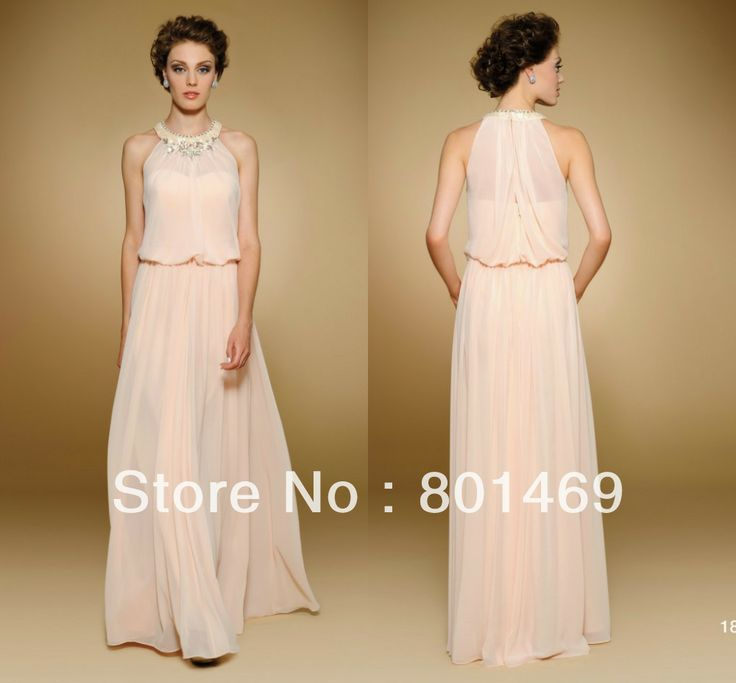 Fresh Design 2014 Sorbet Mother Of The Bride Dresses Halter Top Sheer Back Rhinestone Bodice Pleated Chiffon Evening Gown