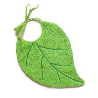 Bavoir design feuille verte lisse